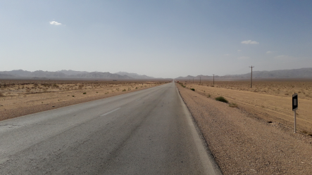 the road through the iranian desert is long